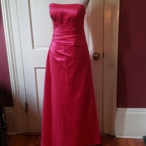 Pink strapless floor length gown 6